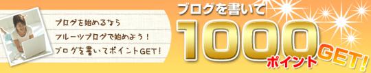 フルーツブログを書いて1000ポイントGET