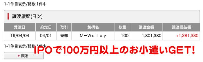 IPOで100万円以上のお小遣い